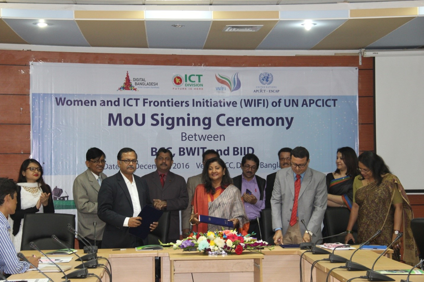 Memorandum of Understanding between Bangladesh Computer Council , ICT Division, BWIT and BIID; Bangladesh initiative for WIFI for SDG Goal 5